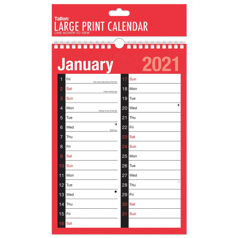 2021 A4 Wall Calendar Planner - Large Print - 1 Month to ...